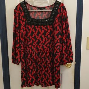 Style & Co, red and black womans blouse